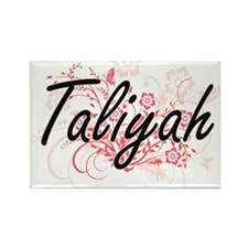Taliyah Artistic Name Design with Flowers Magnets