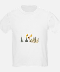 Dragon landing in front of castle T-Shirt