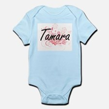 Tamara Artistic Name Design with Flowers Body Suit