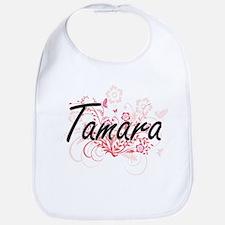 Tamara Artistic Name Design with Flowers Bib