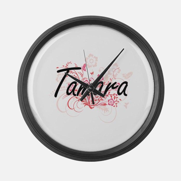 Tamara Artistic Name Design with Large Wall Clock