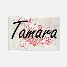 Tamara Artistic Name Design with Flowers Magnets