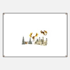 Multiple dragons castle and trees Banner