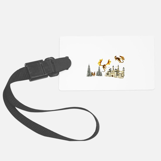 Multiple dragons castle and trees Luggage Tag