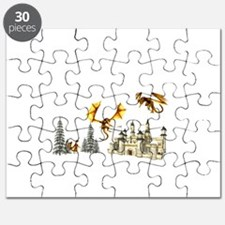 Multiple dragons castle and trees Puzzle