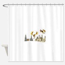 Multiple dragons castle and trees Shower Curtain