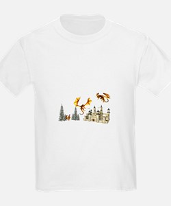 Multiple dragons castle and trees T-Shirt