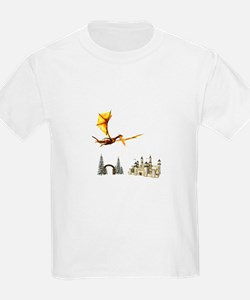 Dragon flying over castle and arch T-Shirt