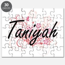 Taniyah Artistic Name Design with Flowers Puzzle