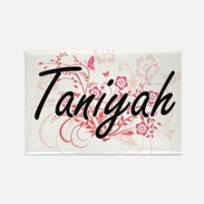 Taniyah Artistic Name Design with Flowers Magnets