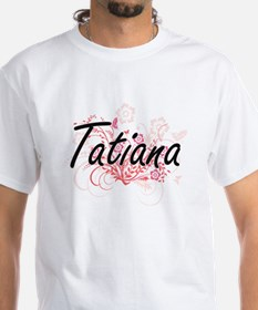 Tatiana Artistic Name Design with Flowers T-Shirt