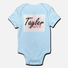 Tayler Artistic Name Design with Flowers Body Suit