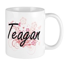 Teagan Artistic Name Design with Flowers Mugs