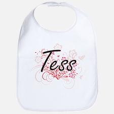 Tess Artistic Name Design with Flowers Bib