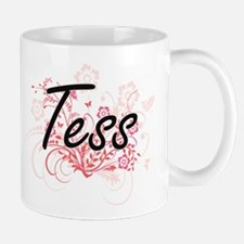 Tess Artistic Name Design with Flowers Mugs