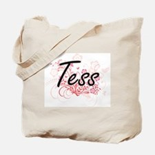 Tess Artistic Name Design with Flowers Tote Bag