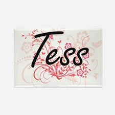Tess Artistic Name Design with Flowers Magnets