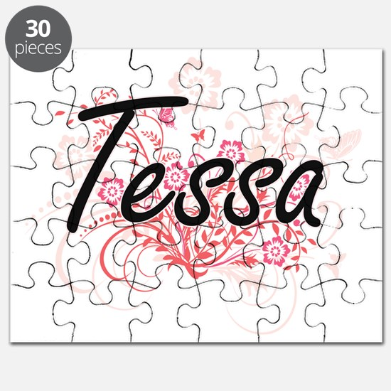 Tessa Artistic Name Design with Flowers Puzzle