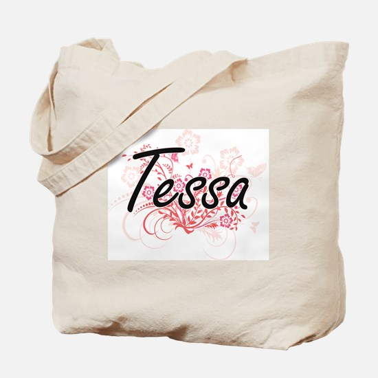 Tessa Artistic Name Design with Flowers Tote Bag