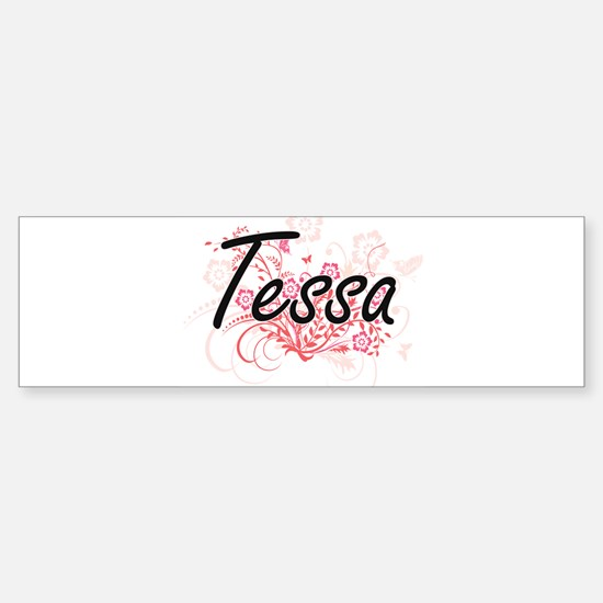Tessa Artistic Name Design with Flo Bumper Car Car Sticker