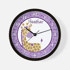 Purple Giraffe Wall Clock - Heather