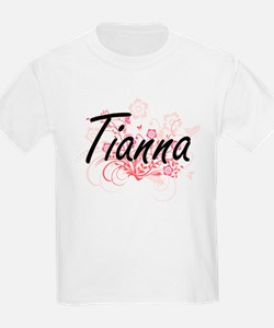 Tianna Artistic Name Design with Flowers T-Shirt
