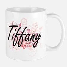 Tiffany Artistic Name Design with Flowers Mugs