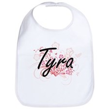 Tyra Artistic Name Design with Flowers Bib