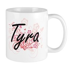 Tyra Artistic Name Design with Flowers Mugs