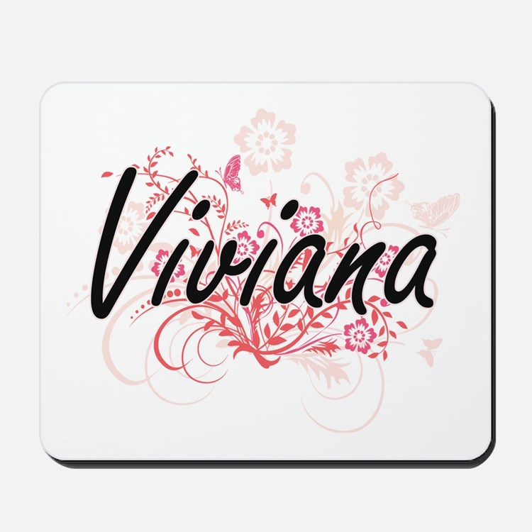 Viviana Artistic Name Design with Flower Mousepad