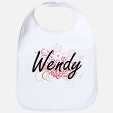 Wendy Artistic Name Design with Flowers Bib