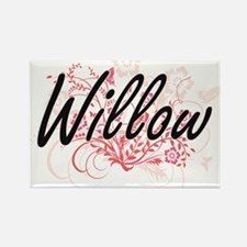Willow Artistic Name Design with Flowers Magnets