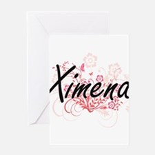 Ximena Artistic Name Design with Fl Greeting Cards