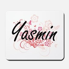 Yasmin Artistic Name Design with Flowers Mousepad