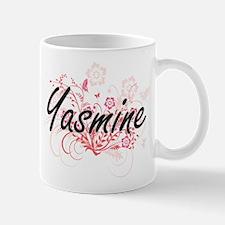 Yasmine Artistic Name Design with Flowers Mugs