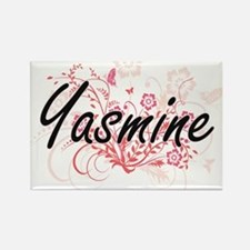 Yasmine Artistic Name Design with Flowers Magnets