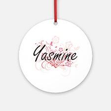 Yasmine Artistic Name Design with F Round Ornament
