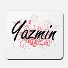 Yazmin Artistic Name Design with Flowers Mousepad
