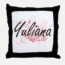 Yuliana Artistic Name Design with Flo Throw Pillow