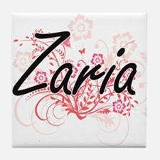 Zaria Artistic Name Design with Flowe Tile Coaster