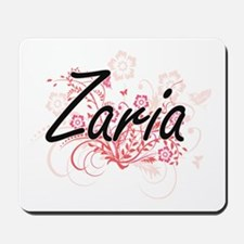 Zaria Artistic Name Design with Flowers Mousepad