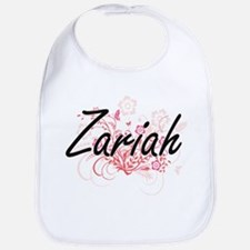 Zariah Artistic Name Design with Flowers Bib