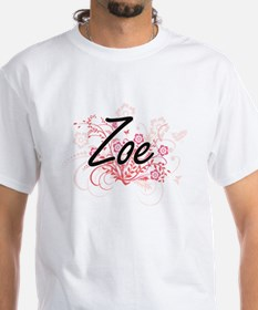 Zoe Artistic Name Design with Flowers T-Shirt