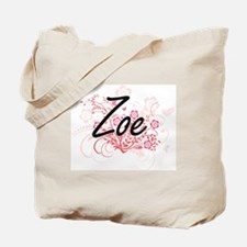 Zoe Artistic Name Design with Flowers Tote Bag