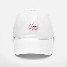 Zoe Artistic Name Design with Flowers Baseball Baseball Cap