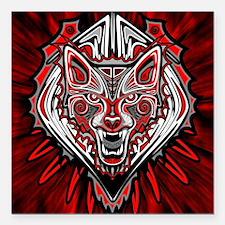 "Wolf Tattoo Style Haida Art Square Car Magnet 3"" x"