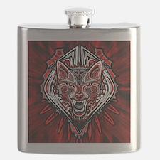 Wolf Tattoo Style Haida Art Flask