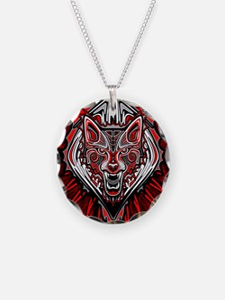 Wolf Tattoo Style Haida Art Necklace