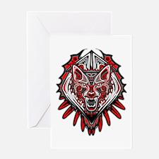 Wolf Tattoo Style Haida Art Greeting Cards