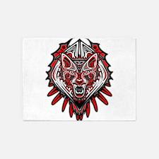 Wolf Tattoo Style Haida Art 5'x7'Area Rug